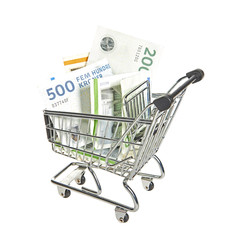Shopping cart filled with danish bills