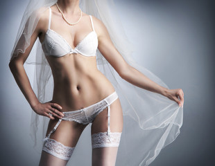 Perfect female body in sexy bridal lingerie