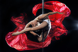 pole dance woman with red silks
