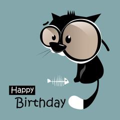 Happy Birthday funny little cat smile