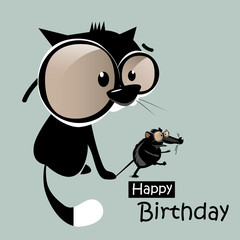 Happy Birthday mouse with a cat smile