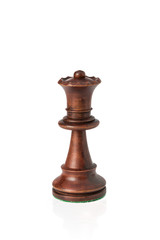 Isolated wooden queen chess