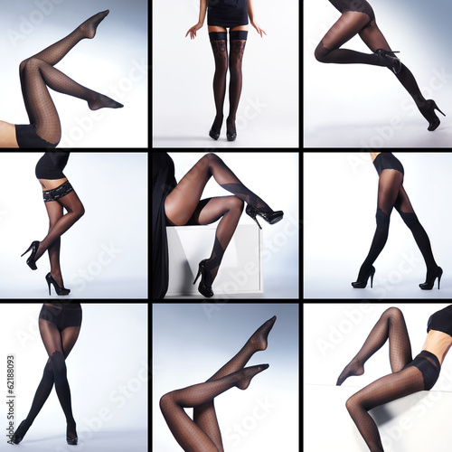 Sexy legs in hosiery on a white background (collage)