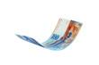 Leinwanddruck Bild - Flying Swiss Franc note, isolated