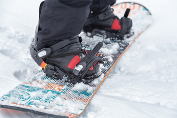 Close up of a snowboard