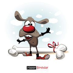 Happy Birthday smile dog Cartoon cute funny