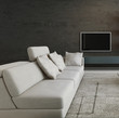 Modern couch in front of stone wall and tv rack