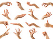 Collection of women hands showing different gestures - 62188812