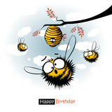Happy Birthday smile funny bees and honey gift