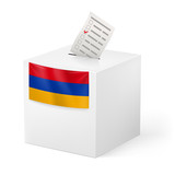 Ballot box with voting paper. Armenia