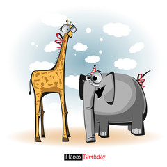 Happy Birthday smile giraffe and elephant