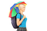 Blond female student with umbrella