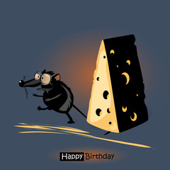 Happy Birthday smile mouse with cheese