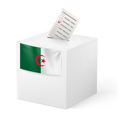 Ballot box with voting paper. Algeria
