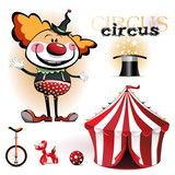 Illustration of a circus tent, clowns poster