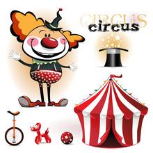 Ilustracja namiot cyrkowy, klaunów