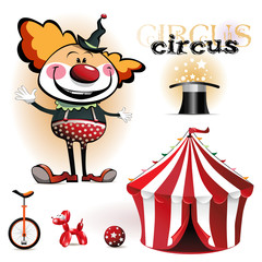 Illustration of a circus tent, clowns