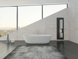 White bathtub against stone wall with fireplace