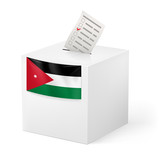 Ballot box with voting paper. Jordan.