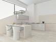 Modern light kitchen interior with stone floor