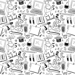 School Objects. Seamless pattern
