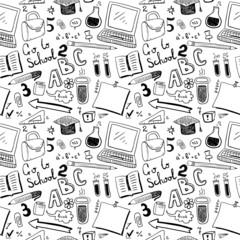 School Objects. Seamless pattern