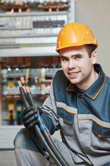 happy electrician worker