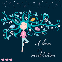life tree meditation and girl vector illustration
