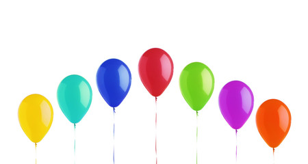 Colorful bright balloons isolated on white