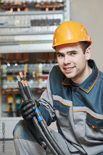 happy electrician worker
