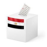 Ballot box with voting paper. Egypt