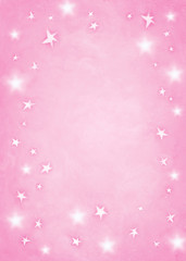 Pink star background with room for copy space.