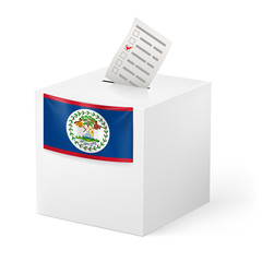 Ballot box with voting paper. Belize