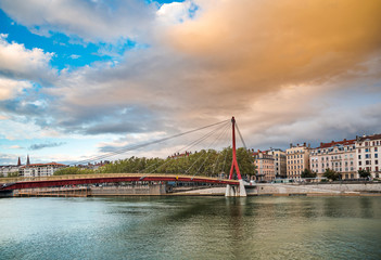 Sunset in Lyon city in France