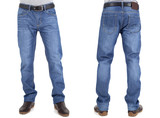 men in jeans trousers on white background back and front views