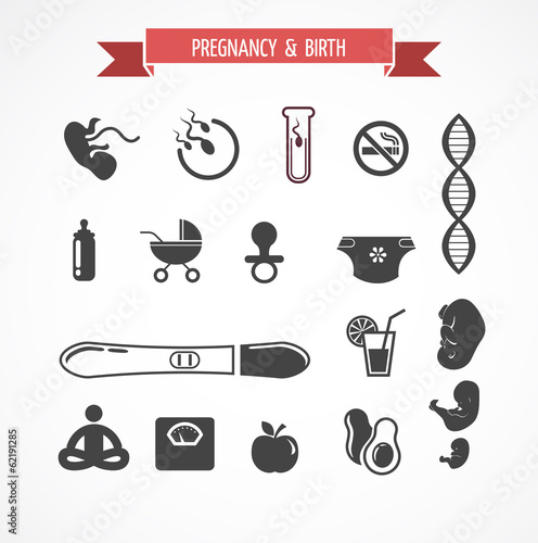 Pregnancy and birth, icon set