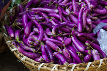 Purple aubergines at market In Myanmar