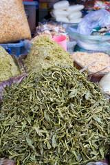 Pickled tea leaves at market in Myanmar