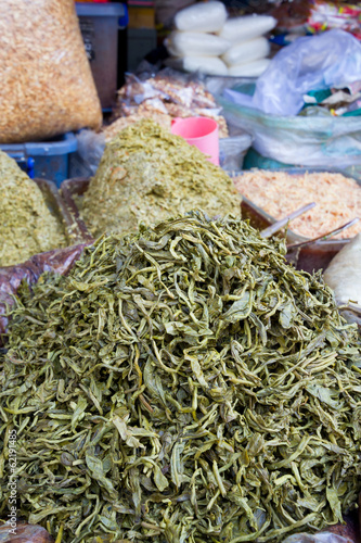Pickled tea leaves at market in Myanmar