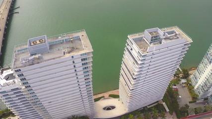 Aerial building flyover Miami Beach