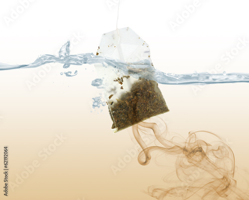 Tea bag dipped in hot water