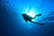 Silhouette of scuba diver in the ocean