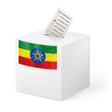 Ballot box with voting paper. Ethiopia