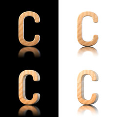 Three dimensional wooden letter C. Isolated on white and black.