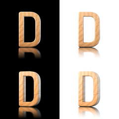 Three dimensional wooden letter D. Isolated on white and black.