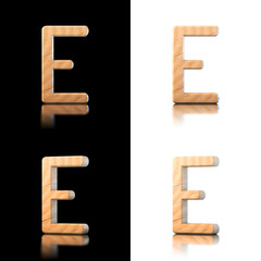 Three dimensional wooden letter E. Isolated on white and black.