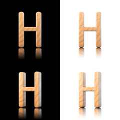 Three dimensional wooden letter H. Isolated on white and black.