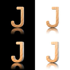 Three dimensional wooden letter J. Isolated on white and black.