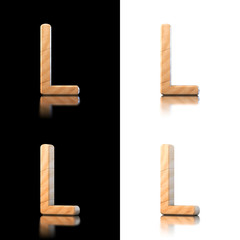 Three dimensional wooden letter L. Isolated on white and black.