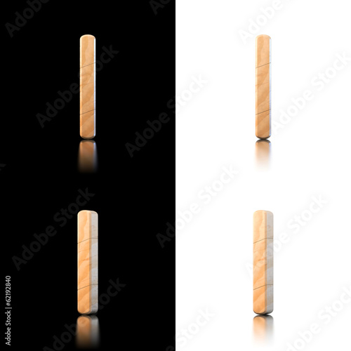 Three dimensional wooden letter I. Isolated on white and black.